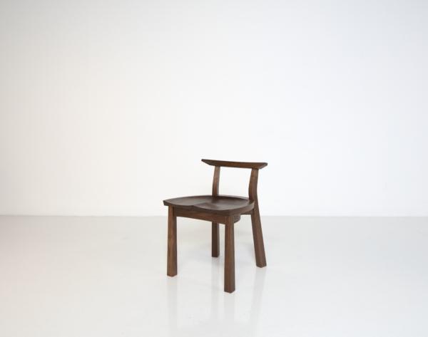 Edo Studio Chair, 3/4 view, walnut, in studio