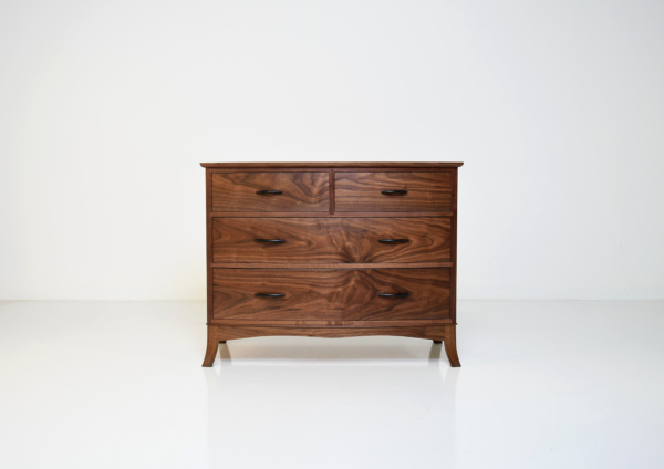 Studio Shot, Crescent Four Drawer Bureau in walnut, front facing