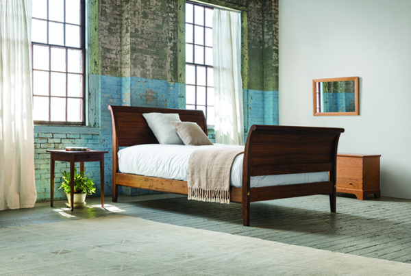 Sleigh Bed with Curved Footboard in Walnut