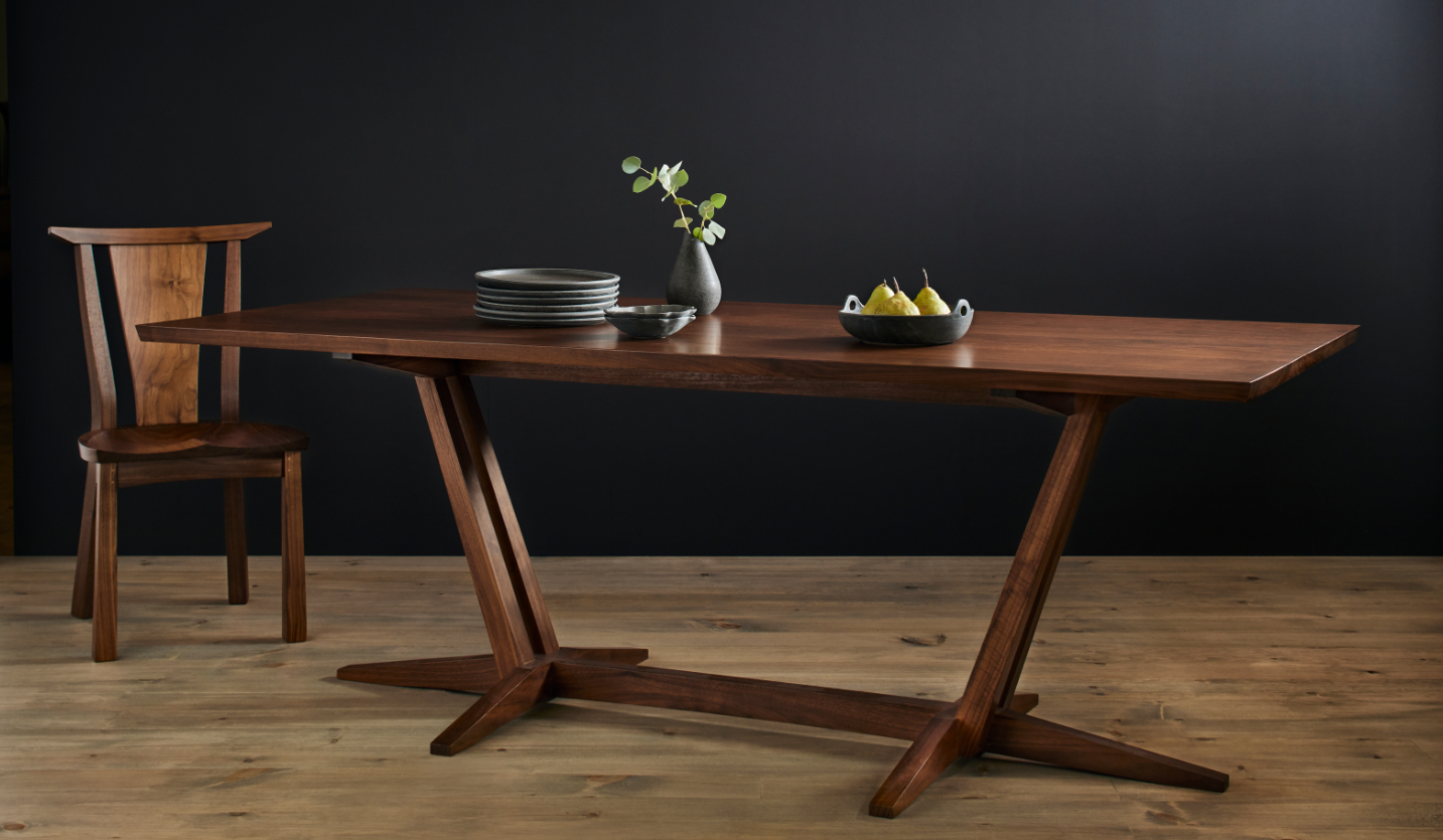 Dining room table with a single chair