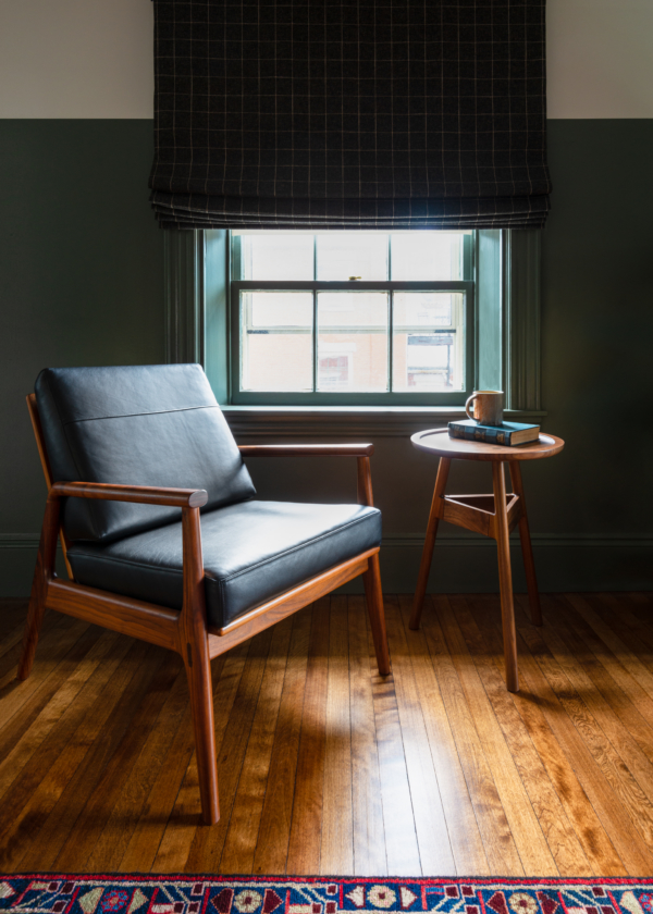 Fahmida Lounge Chair and Hartford Round Stand in Walnut