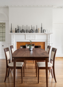 Boat Top Table and Harpswell Chairs in Walnut